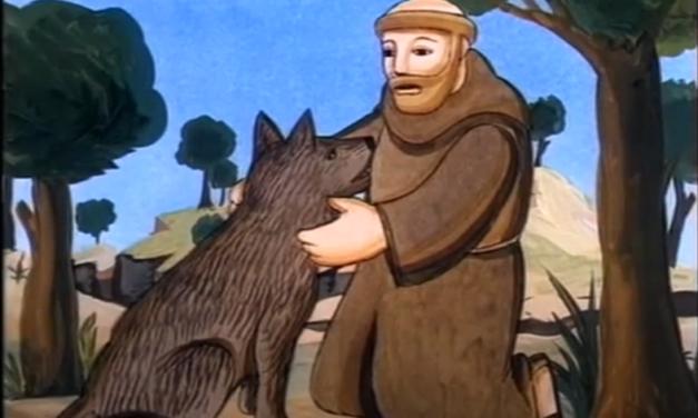 Квіти св. Франциска. 1. Святий Франциск і вовк у місті Джбуйо
